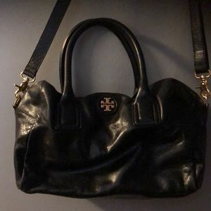 Beautiful Tory Burch black leather satchel.